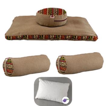 Meditációs párna EXTRA család EcoYoga India Krém #4 levehető huzatokkal – Ajándék 40 x 50 Tönköly pelyva alvó párna levendulával