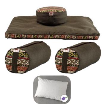 Meditációs párna EXTRA család EcoYoga India Zöld #3 levehető huzatokkal – Ajándék 40 x 50 Tönköly pelyva alvó párna levendulával