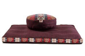 Pernă Set Meditație Zabutan EcoYoga Andok #Bordo 4 cu Husă Detașabilă